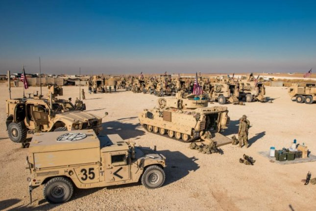 U.S. forces mass M2A2 Bradley fighting vehicles in support of Operation Inherent Resolve in Iraq and Syria. Photo courtesy of U.S. Army