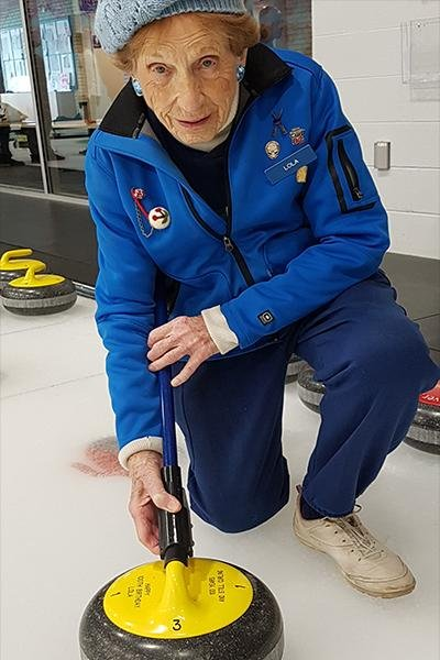 Lola Holmes, 102, of Vancouver, British Columbia, has been certified by Guinness World Records as the world's oldest living curling player. Photo courtesy of Guinness World Records
