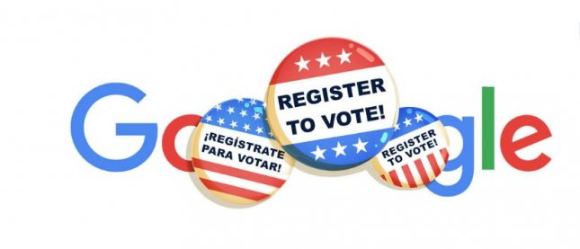 Google is reminding users to register to vote in a new Doodle. Image courtesy of Google