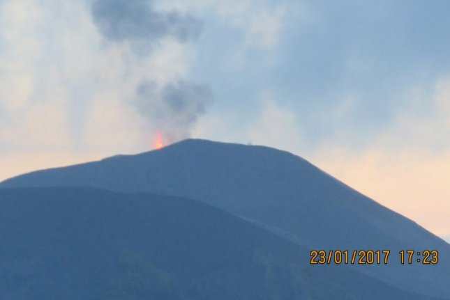The Barren Island volcano, India's only live volcano, is once again active, scientists working for the National Institute of Oceanography who witnessed the volcanic activity in January said. Photo courtesy of Council of Scientific and Industrial Research-National Institute of Oceanography