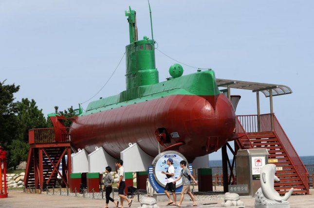 Tourists view a North Korean submarine on display at the Unification Park in the eastern coastal city of Gangneung, South Korea. File Photo by Yonhap/EPA