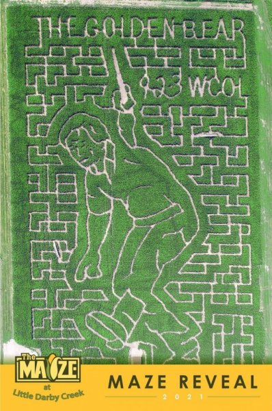 The Maize at Little Darby Creek in Union County, Ohio, is paying tribute to legendary golfer Jack Nicklaus by putting his image in the middle of the 2021 corn maze. Photo byThe Maize at Little Darby Creek/Facebook