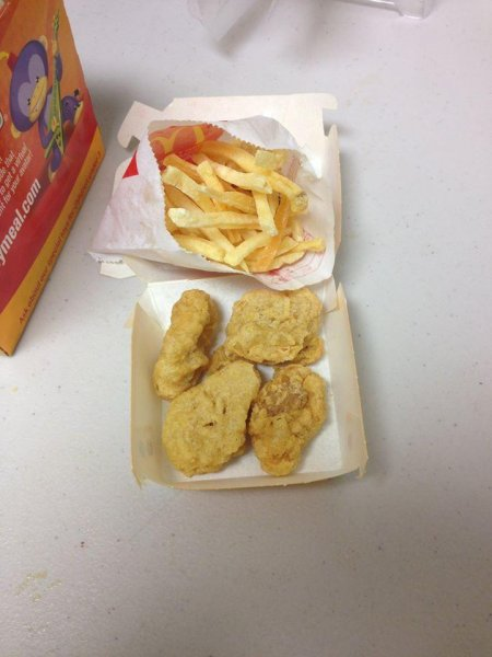 An Alaska woman says this Happy meal has been in her office for six years without showing any signs of aging. Photo by Jennifer Lovdahl/Facebook