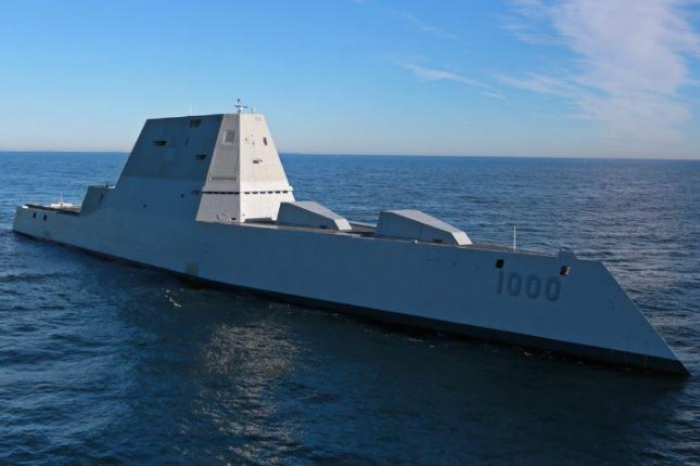 The U.S. Zumwalt weighs 15,995 metric tons and can travel with sustained speeds of 30 knots per hours. Photo by U.S. Pacific Command/Twitter