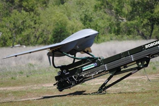 An unmanned aerial system by Lockheed Martin awaits launch by a Kontio launcher from Robonic Ltd. Photo courtesy of Lockheed Martin