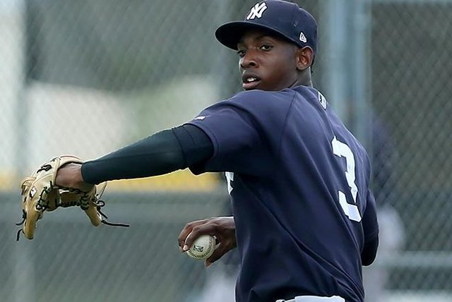 Yankees prospect Brayan Jimenez had seven RBIs in a record 38-2 victory in the Dominican Summer League. Photo by Cliff Welch/MILB.com
