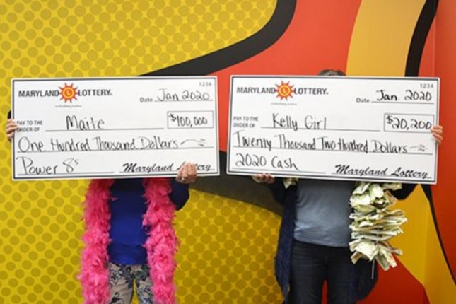 Two Maryland woman who have been friends for 20 years visited state lottery headquarters together when they both won jackpots from scratch-off tickets. Photo courtesy of the Maryland Lottery