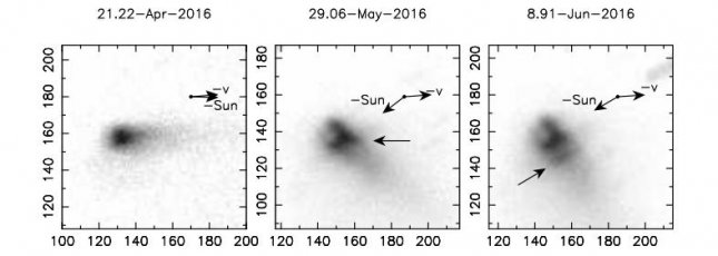 Scientists study early evolution of activated asteroid P/2016 G1