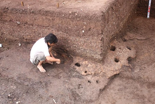 Archaeologists found a diversity of stone artifacts at excavation sites in southern Vietnam. Photo courtesy ANU