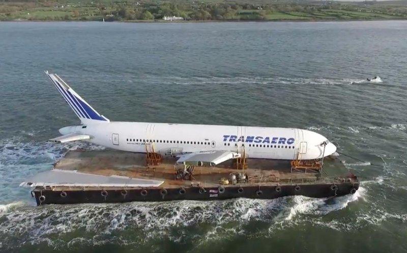 Decommissioned Boeing 767 sets sail across Irish sea