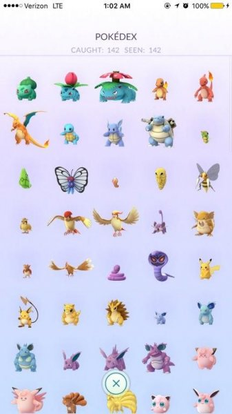 A screenshot of Nick Johnson's Pokedex showing he has caught 142 monsters available in the United States in Pokemon Go. Photo by Nick Johnson/Reddit