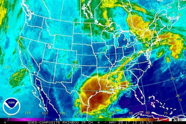 A system of severe thunderstorms caused two deaths in Missouri on Sunday and is forecast to bear down on the mid-Atlantic and Northeast regions of the United States on Monday. Image courtesy NOAA