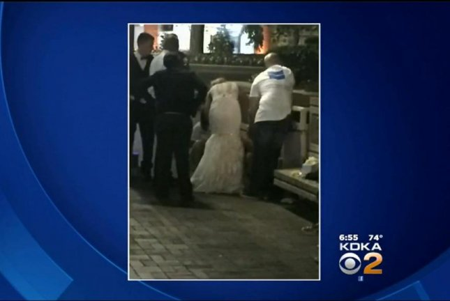 Newlywed Julie Stroyne Nixon saved a stranger's life with CPR outside of her wedding reception in Pittsburgh. Screenshot: CBS Pittsburgh