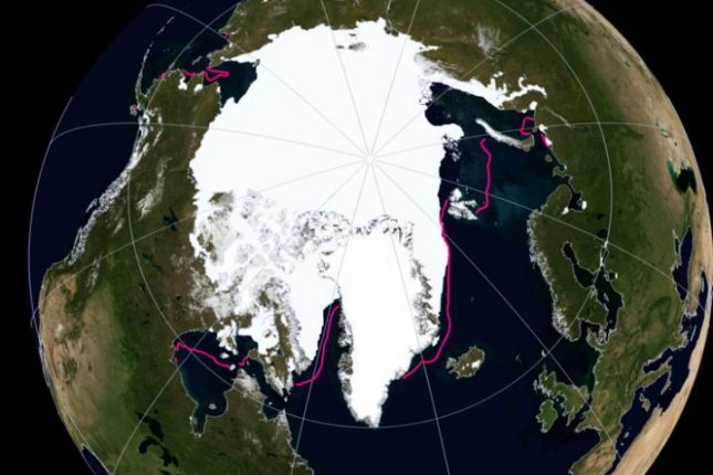 A maps shows the Arctic sea ice extent during November 2016. The pink lines represent the average extent between 1981 and 2001. Photo by National Snow and Ice Data Center/NASA Earth Observatory