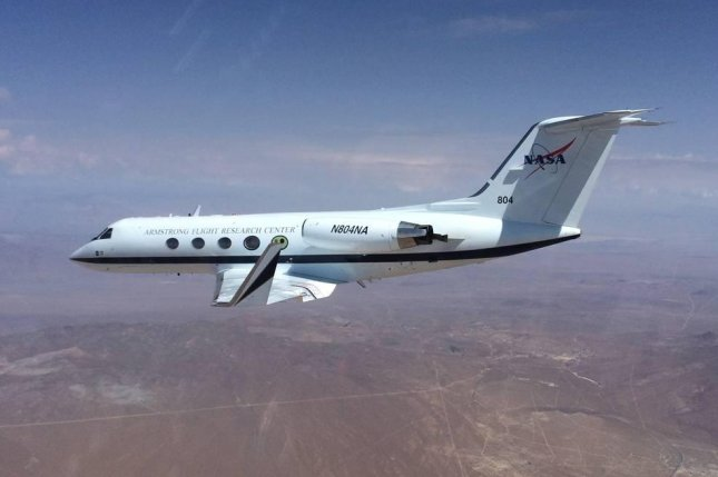 An airplane from the Air Force Research Laboratory test new shape-changing wing technology. Photo by NASA/Air Force