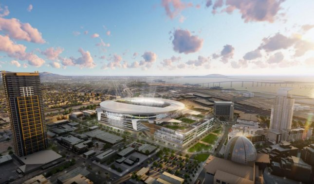This computer rendering depicts the $1.8 billion stadium and convention center in San Diego. Image courtesy MANICA Architecture/San Diego Chargers