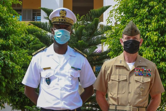 Maj. Gen. Stephen Neary (R), who met with Senegalese naval chief of staff Rear Adm. Oumar Wade (L) earlier this month, has since been relieved of his command. File Photo by Staff Sgt. Brytani Musick/U.S. Marine Corps