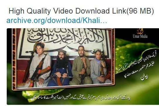 A screenshot from a Twitter account purportedly affiliated with Tehrek Taliban Pakistan (TTP) sharing a video message purported to show the attackers of the blast on Shiite mosque on Feb. 23 in Peshawar.