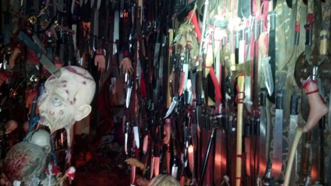 A total 3,714 bladed weapons were found in Nickole Dykema's Brooksville, Fla., home, along with numerous fake body parts and what appeared to be a Satanic shrine. Photo courtesy of the Hernando County Sheriff's Office.