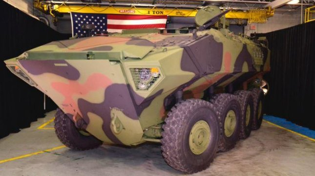 Tests of the Marine Corps' new Amphibious Combat Vehicle showed problems with flat tires and problems carrying 16 personnel, a Pentagon report said. Photo courtesy of BAE Systems