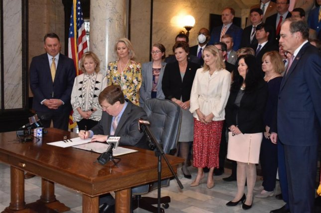 Mississippi Gov. Tate Reeves signs a law banning students of the male sex from athletic teams or sports designated for women at the state's high schools and universities.Photo courtesy of Mississippi Gov. Tate Reeves