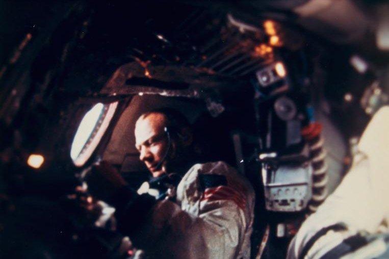 Astronaut Buzz Aldrin inside the Gemini 12. Photo by Bloomsbury Auction/NASA.