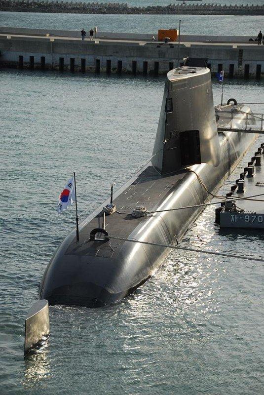 A South Korean Type-214 submarine. U.S. Nsvy photo by U.S. Navy Photo by MC1 Todd Macdonald.