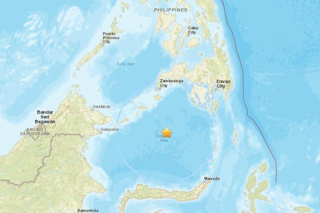 The U.S. Geological Survey said said a 7.3-magnitude earthquake struck in the Celebes Sea on Tuesday at a depth of about 380 miles. Officials did not issue tsunami threats. The quake was felt in the Philippines, Indonesia and Malaysia. Photo courtesy of U.S. Geological Survey
