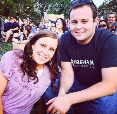 Josh Duggar (R) and wife Anna Duggar. The couple rang in son Marcus' birthday with family Friday. Photo by Josh Duggar/Instagram