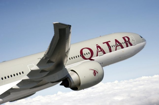 A Qatar Airways' Boeing 777-300-ER, similar to the plane that flew 9,032 miles from Auckland, New Zealand, to Doha, Qatar, arriving at 10:07 p.m. Monday. Photo courtesy of Qatar Airways.