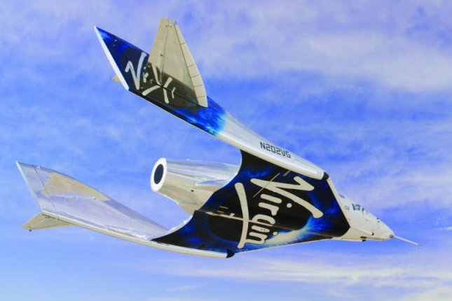 An undated 2020 photo of Virgin Galactic's SpaceShipTwo Unity flying over New Mexico airspace. Photo by Virgin Galactic/UPI