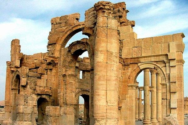 The Arch of Triumph at the Syrian historical city of Palmyra was destroyed by Islamic State militants Sunday. Photo courtesy of the Directorate General of Antiquities and Museums