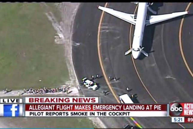 Four people were injured when an Allegiant Air flight from Maryland to Florida made an emergency landing after smoke was detected in the cabin. Screenshot from WFTS