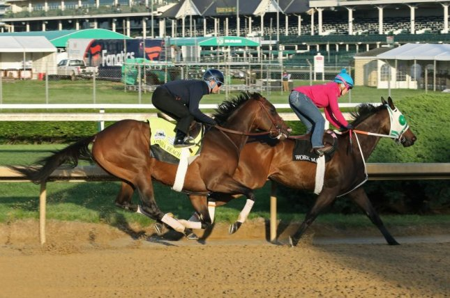 Likely Kentucky Derby favorite Omaha Beach works out at Churchill Downs for the big race. (Churchill Downs photo).