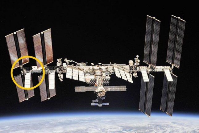 During Sunday's spacewalk, NASA astronauts installed a new lithium-ion battery on the International Space Station's Port-6 truss structure. Photo by NASA/ISS