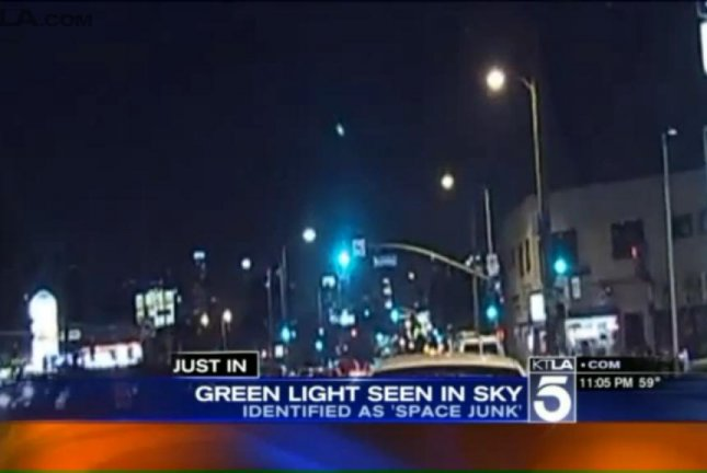 A green light streaking across the Southern California sky Tuesday night. Screenshot: KTLA-TV