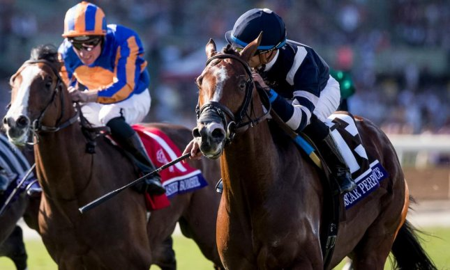 Lancaster Bomber (blue and orange silks), seen finishing second in the 2016 Breeders' Cup Juvenile Turf, returns from Ireland to contest the Woodbine Mile Sept. 16. (Breeders' Cup photo)