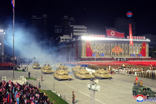 North Korea's military parade on Saturday, the 75th anniversary of the Korean Workers' Party, included battle tanks and super-large multiple rocket launchers. Photo by KCNA
