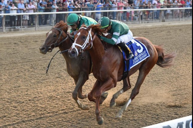 Code of Honor (outside) was promoted to victory in Saturday's Grade I Jockey Club Gold Cup when Vino Rosso (inside) was disqualified for bumping. Photo by Chelsea Durand, courtesy of New York Racing Association