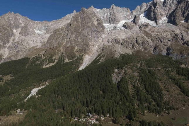 Homes were evacuated Thursday near the Planpinceux Glacier on Mont Blanc amid fears of an imminent landslide, in Valle d'Aosta, northwest Italy. File Photo by Riccardo Dalle Luche/EPA-EFE