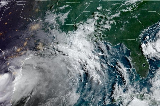 The storm had maximum sustained winds of 90 mph at the time it roared ashore at Padre Island, Texas, at 5 p.m. Saturday, according to The National Hurricane Center. Photo courtesy of NOAA