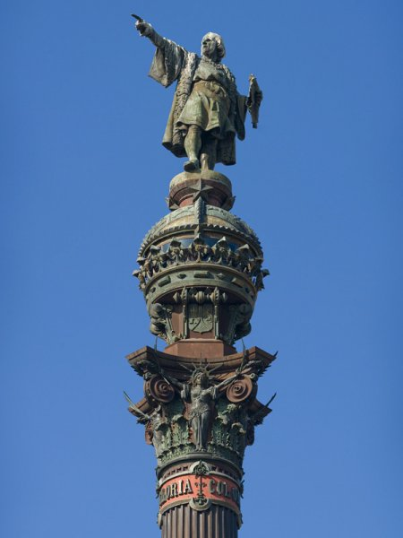 The top of the columbus Monument in Barcelona Spain. Photo by DAVID ILIFF. License: CC-BY-SA 3.0 via Wikimedia.