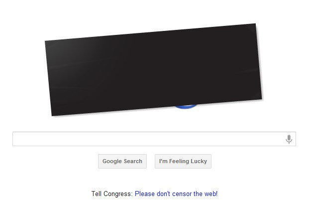 Google's homepage on Jan. 18, in protest of the proposed SOPA and PIPA legislation in Congress.