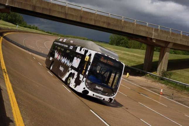 Reading Buses' Bus Hound recently set a land speed record. It is powered by biomethane derived from cow manure. Photo by Reading Buses