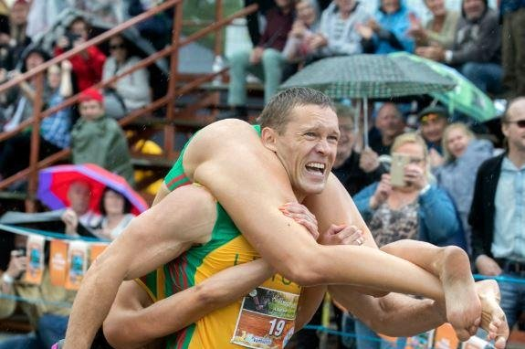 Lithuanian couple wins international wife-carrying championship