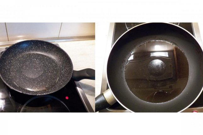 Dry spots form in the middle of frying pans and cause food to stick, even non-stick ones pans, because of something called thermocapillary convection -- but researchers say this situation can be avoided. Photo byAlex Fedorchenko