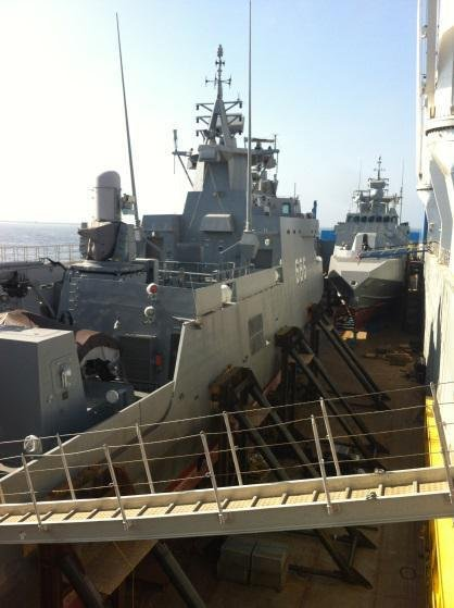 U.S.-built Fast Missile boats arrive in Egypt on board a transport ship. U.S. Embassy Photo.