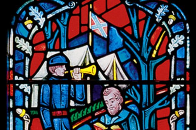 Confederate flags, seen in stained-glass windows honoring the Southern cause in the Civil War at Washington's National Cathedral, were replaced with clear blue or red panes of glass, the Cathedral announced. Photo Courtesy of Washington National Cathedral