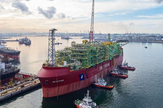A peak rate of 60,000 bpd is expected during the first half of the year from the floating production platform parked over the Catcher reserve area in the North Sea. Photo courtesy of Premiere Oil.