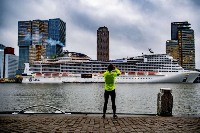 MSC Cruises' newest and most environmentally friendly cruise ship, the Grandiosa, arrives in Rotterdam, the Netherlands, on Monday. Photo by Robin Uthrect/EPA-EFE